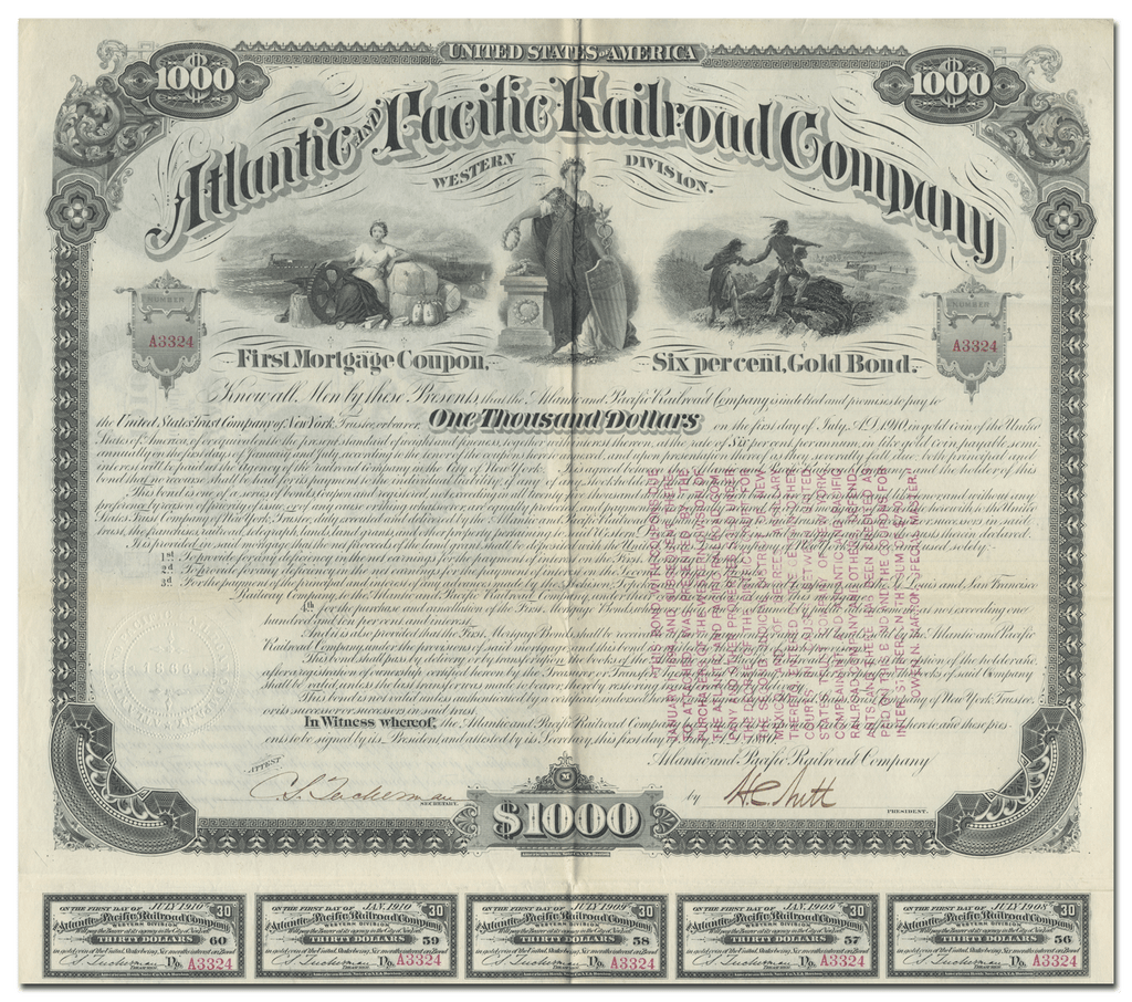 Atlantic & Pacific Railroad Company Bond Certificate