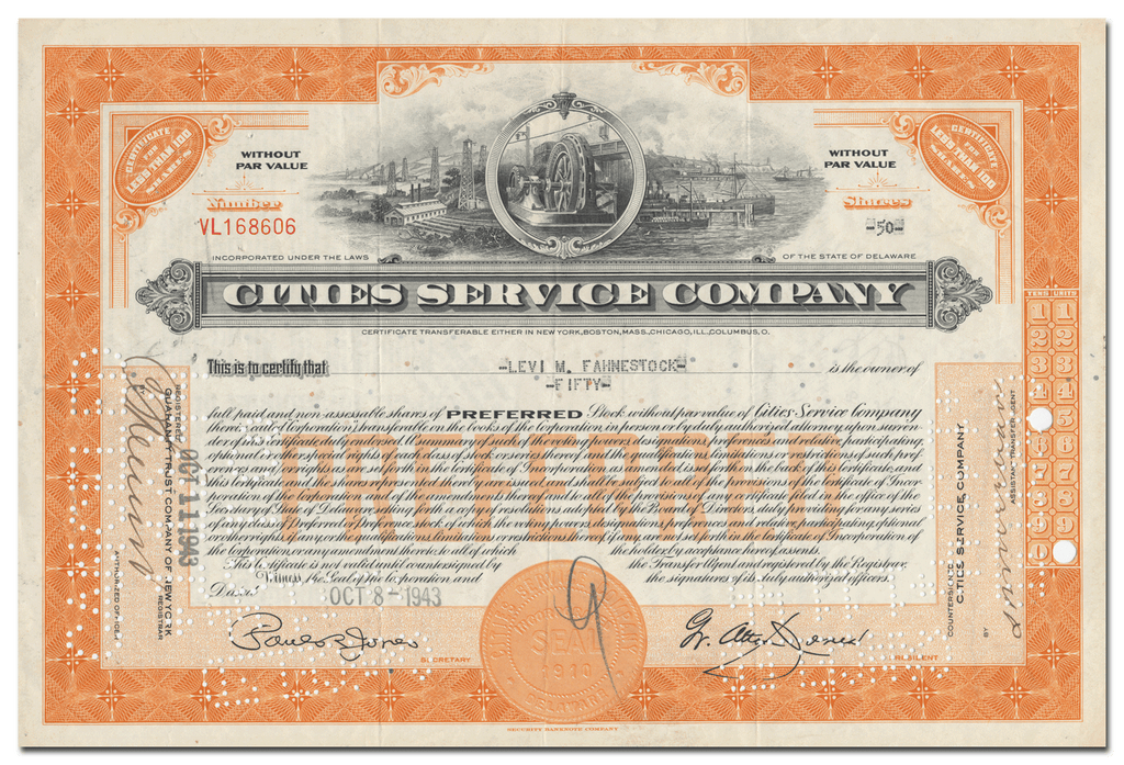 Cities Service Company Stock Certificate