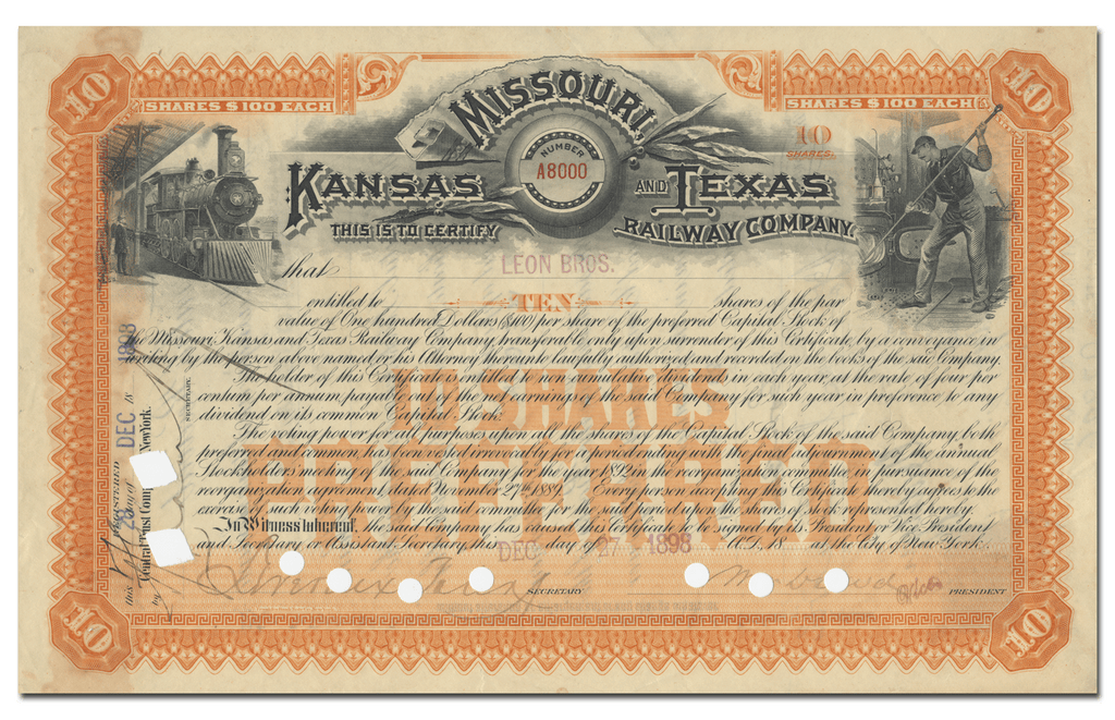 Missouri, Kansas and Texas Railway Company Stock Certificate