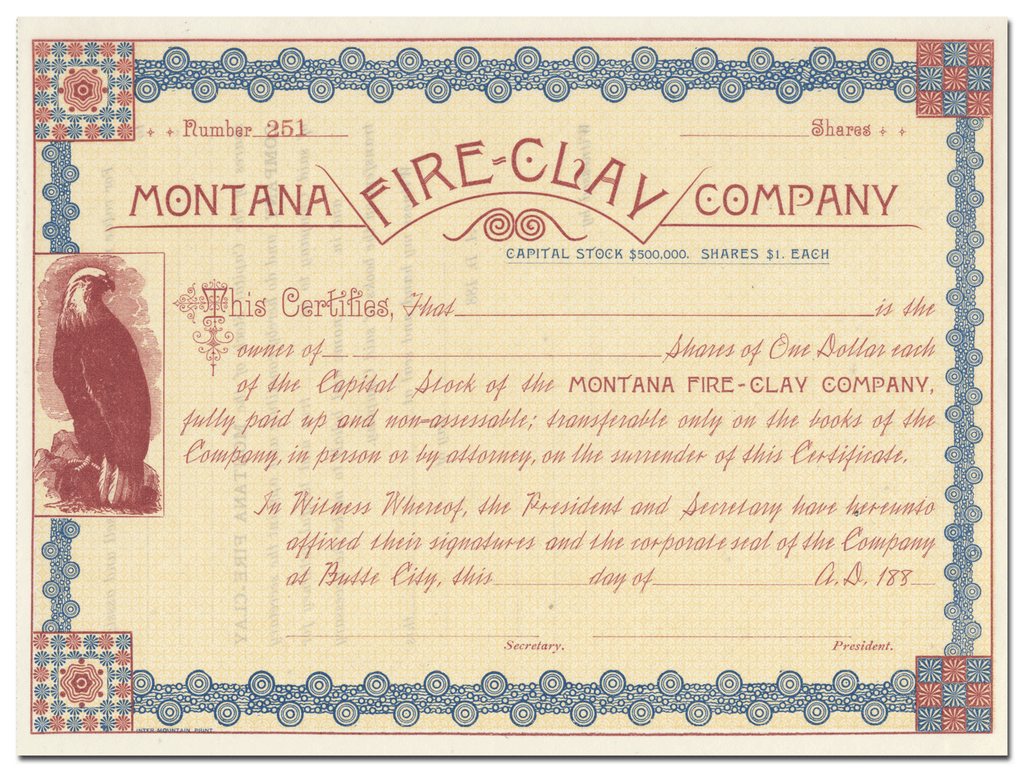 Montana Fire-Clay Company Stock Certificate
