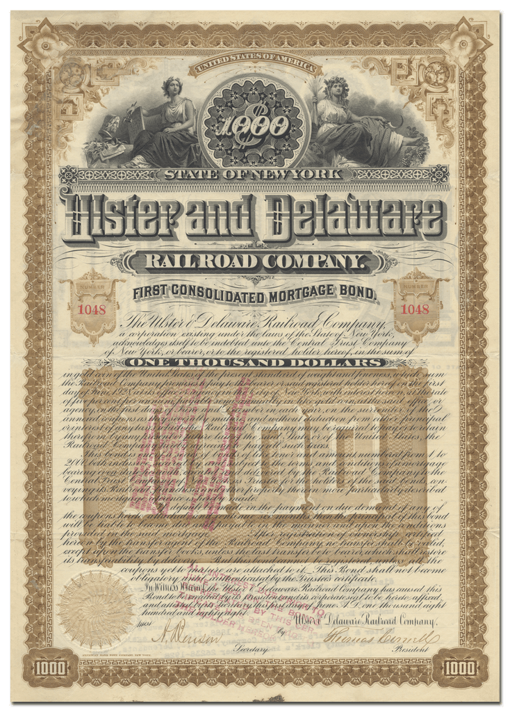 Ulster and Delaware Railroad Company Bond Certificate Signed by Thomas Cornell