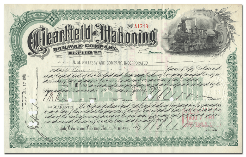 Clearfield and Mahoning Railway Company Stock Certificate