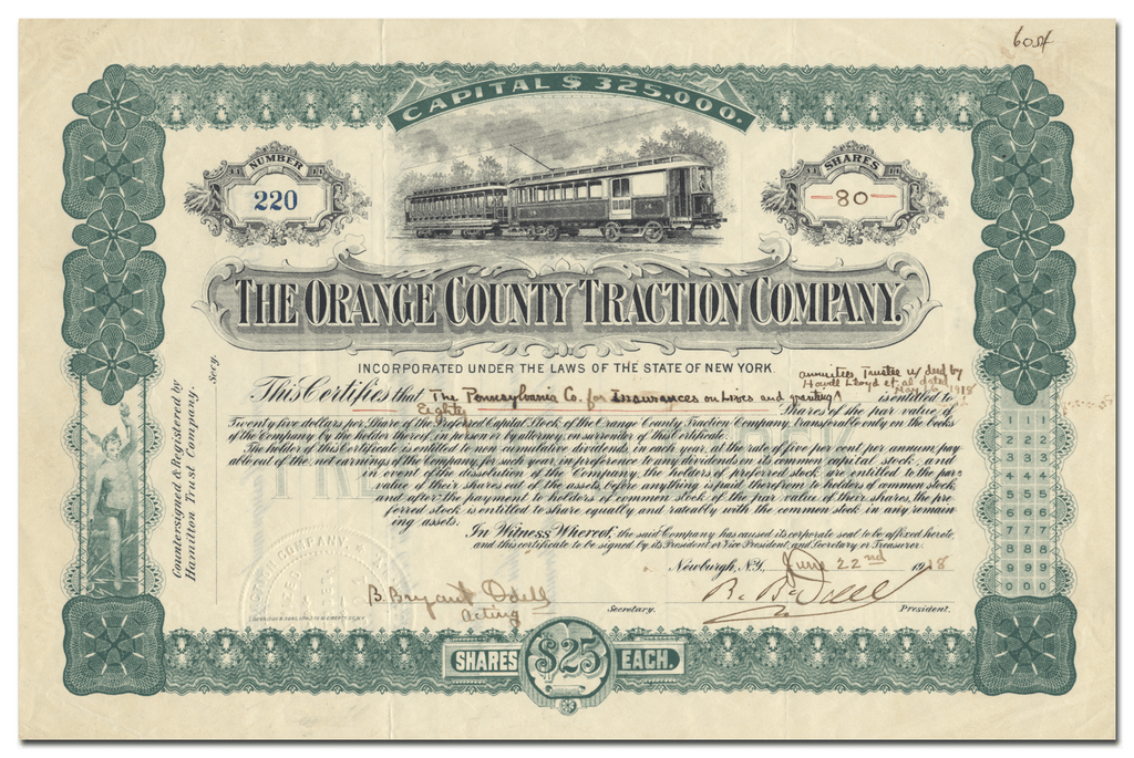 Orange County Traction Company Stock Certificate Signed by Benjamin B. Odell