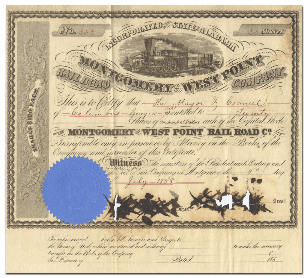 Montgomery and West Point Rail Road Co. Stock Certificate