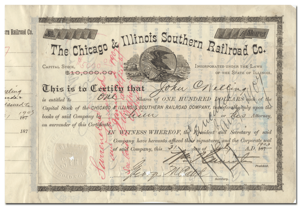 Chicago and Illinois Southern Railroad Company Stock Certificate