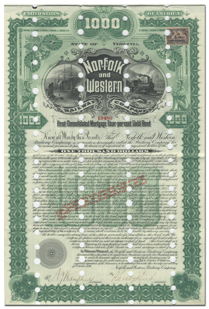Norfolk and Western Railway Company Bond Certificate