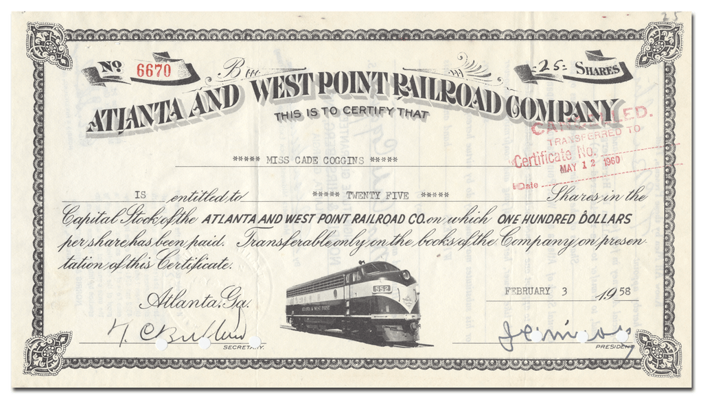 Atlanta and West Point Railroad Company Stock Certificate