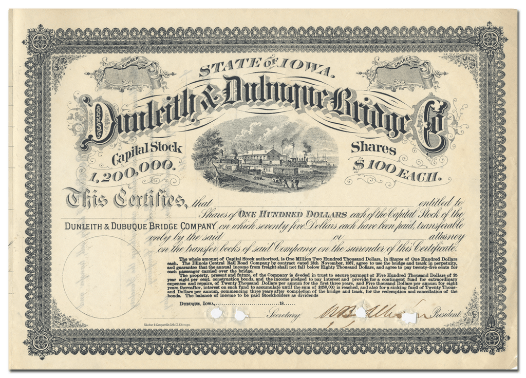 Dunleith & Dubuque Bridge Company Stock Certificate Signed by William Boyd Allison