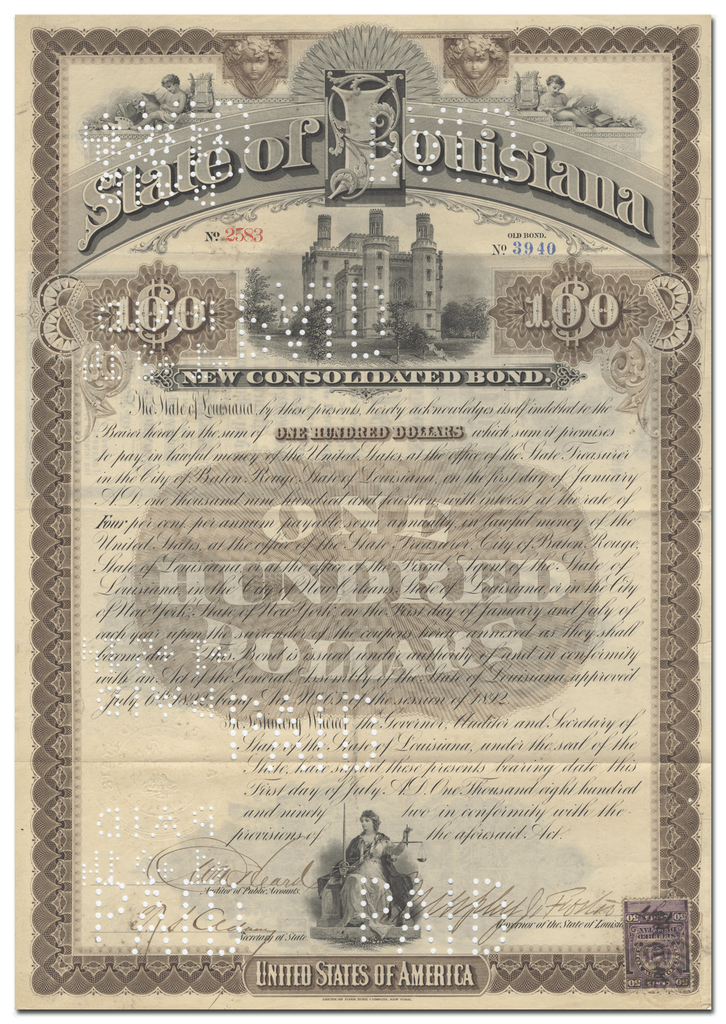 State of Louisiana Bond Certificate Signed by Murphy James Foster
