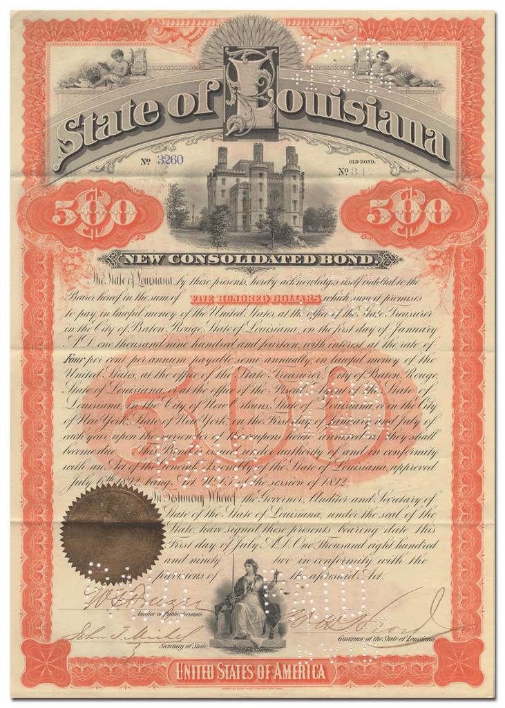 State of Louisiana Bond Certificate Signed by William Wright Heard