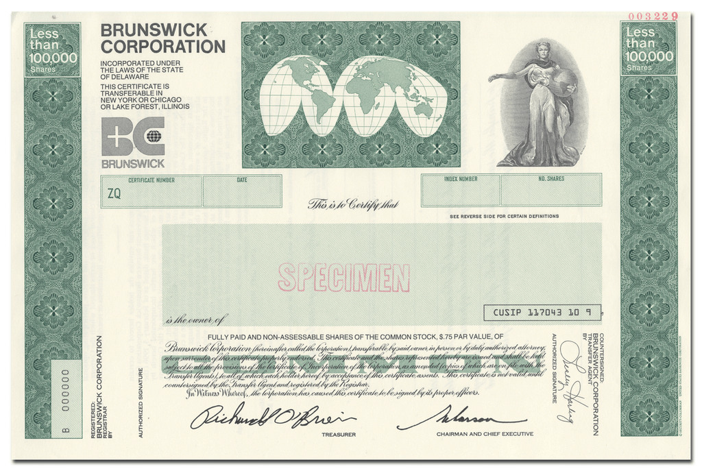 Brunswick Corporation Specimen Stock Certificate