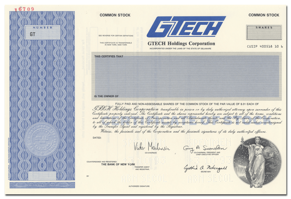 GTECH Holdings Corporation Specimen Stock Certificate