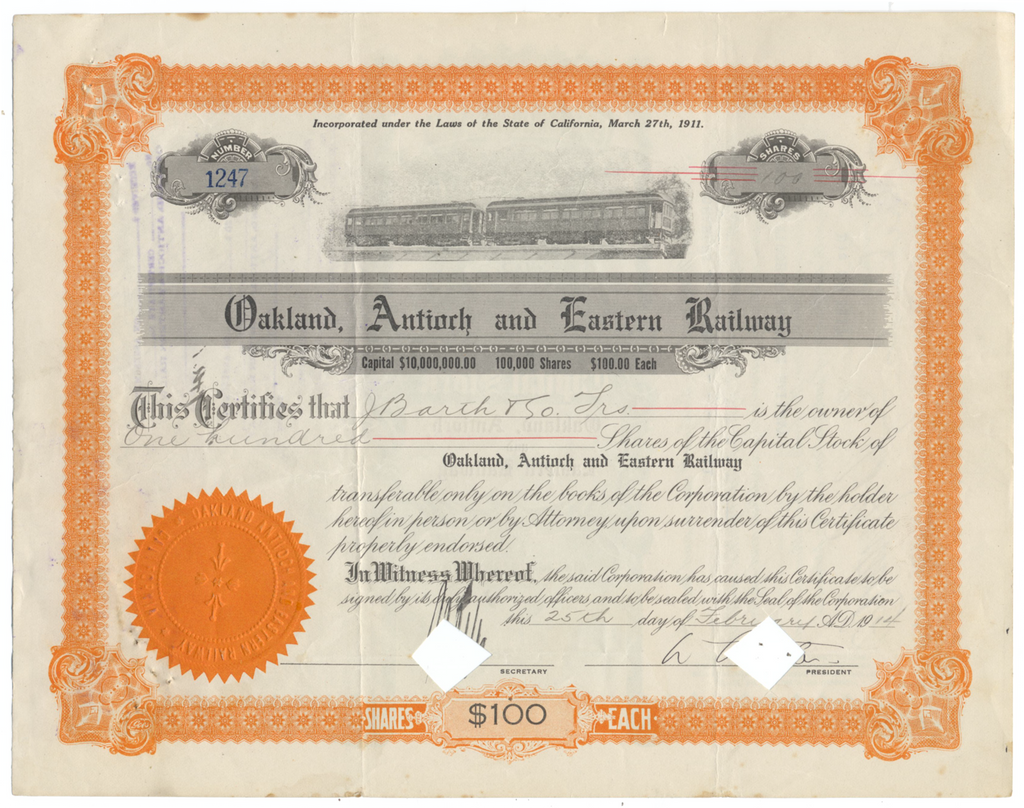 Oakland, Antioch and Eastern Railway Stock Certificate