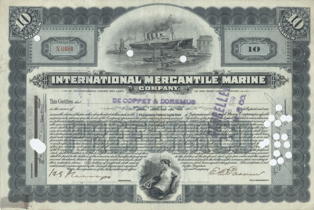 International Mercantile Marine Company Stock Certificate