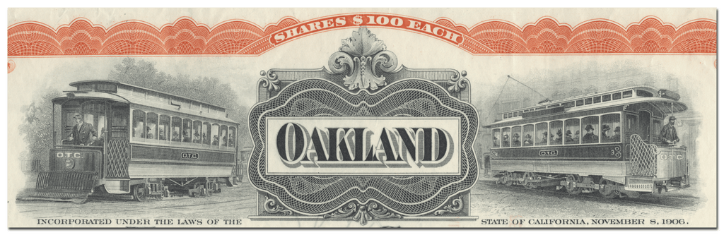 Oakland Traction Company Stock Certificate Signed by Dennis Searles