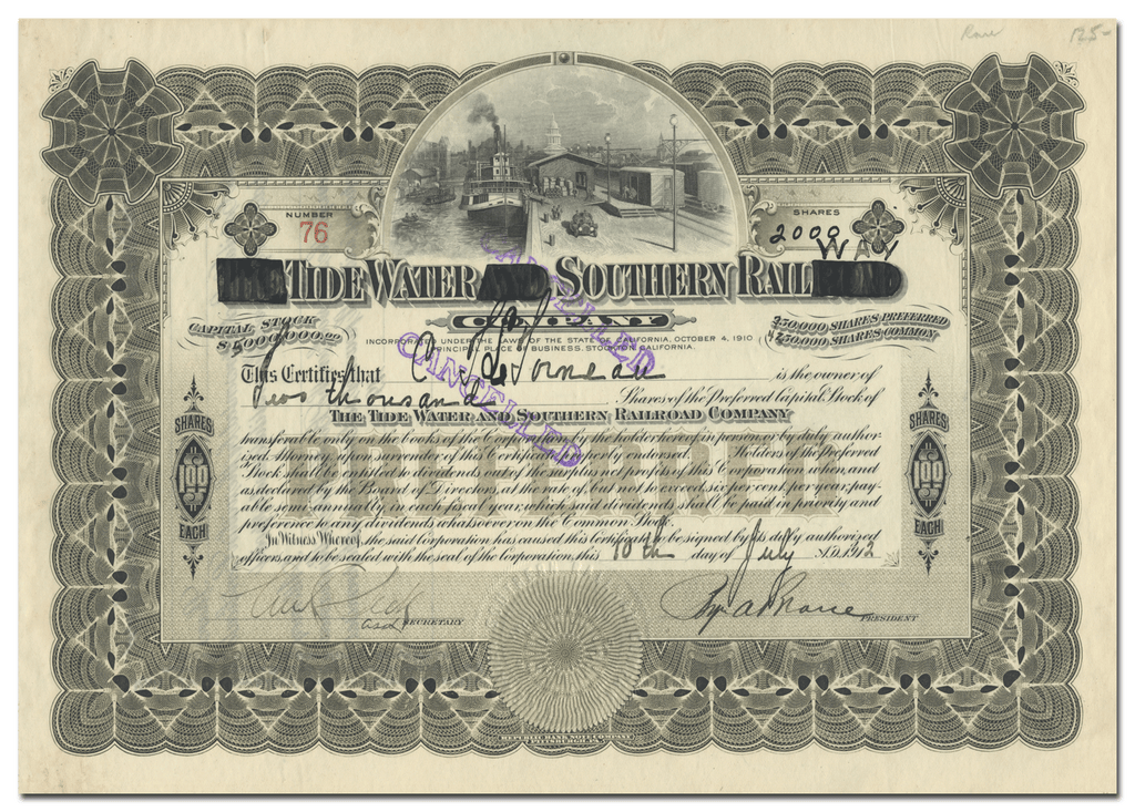 Tidewater Southern Railway Company Stock Certificate