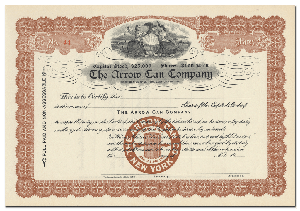 Arrow Can Company Stock Certificate