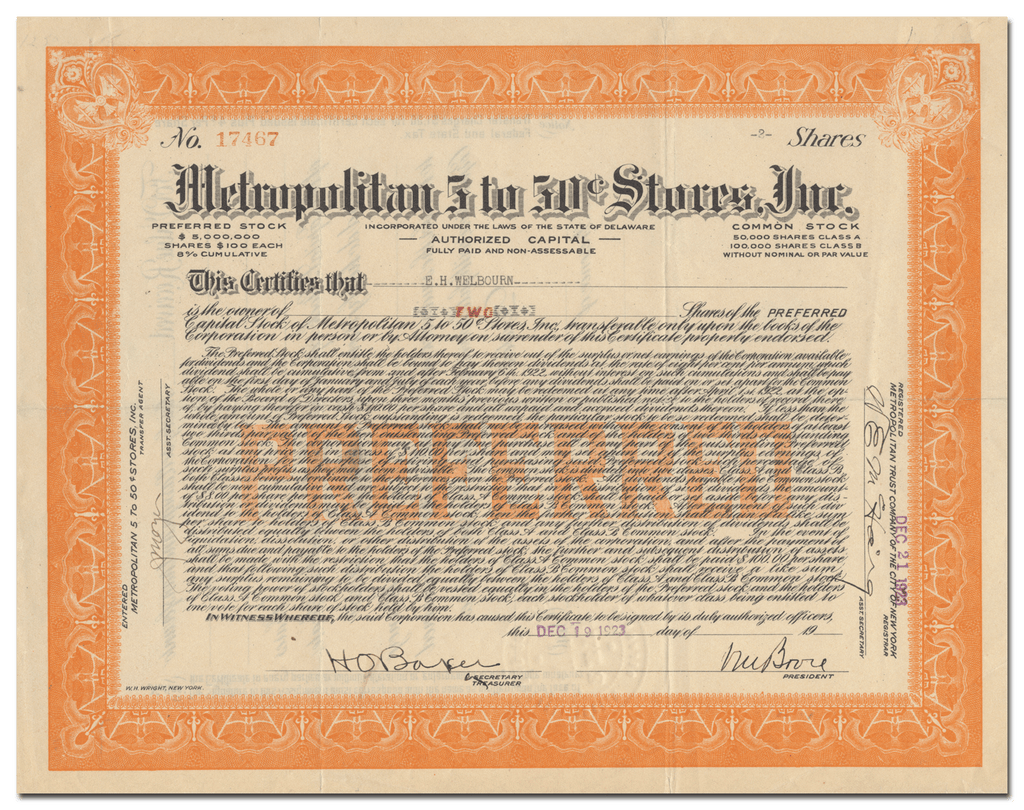 Metropolitan 5 to 50 Cent Stores, Inc. Stock Certificate