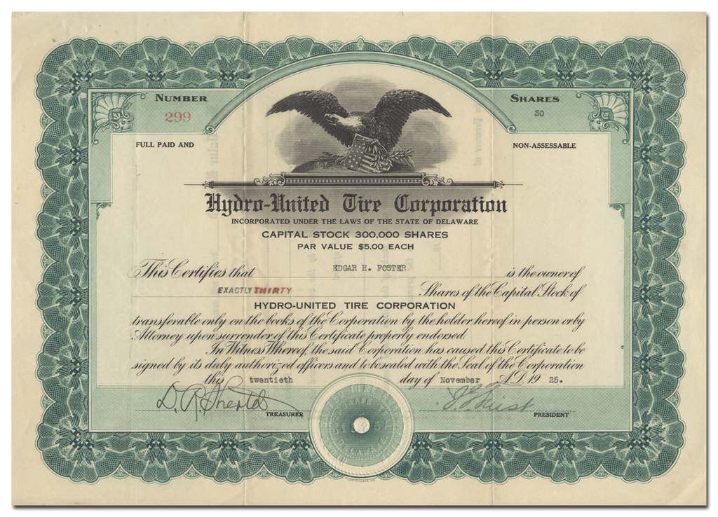 Hydro-United Tire Corporation Stock Certificate