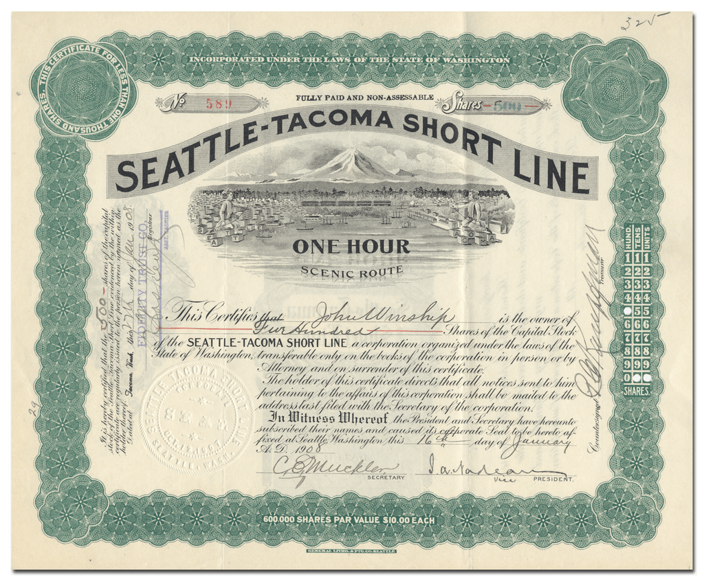 Seattle-Tacoma Short Line Stock Certificate