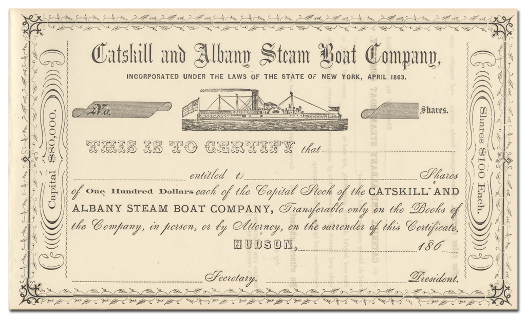 Catskill and Albany Steam Boat Company Stock Certificate