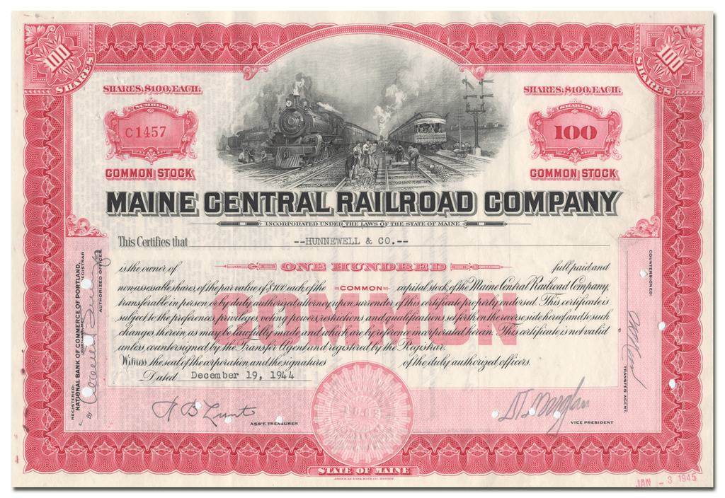 Maine Central Railroad Company Stock Certificate