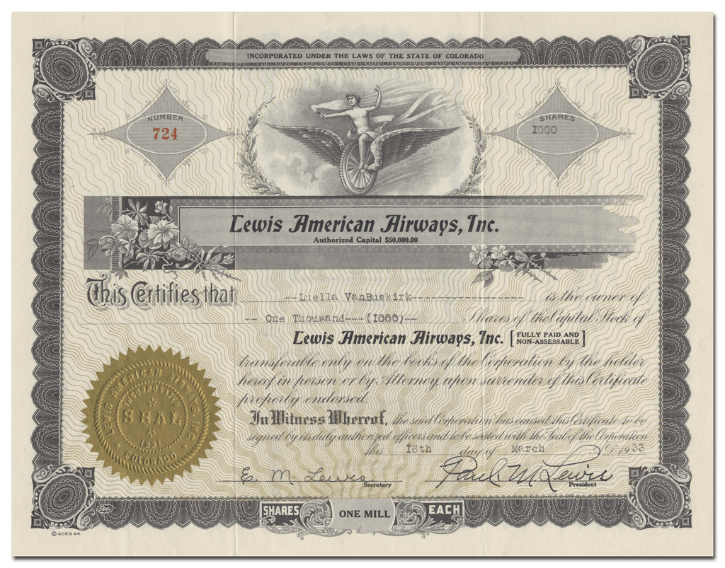 Lewis American Airways, Inc. Stock Certificate