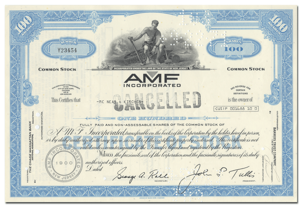 AMF Incorporated Stock Certificate