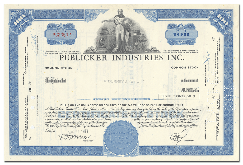Publicker Industries Inc. Stock Certificate