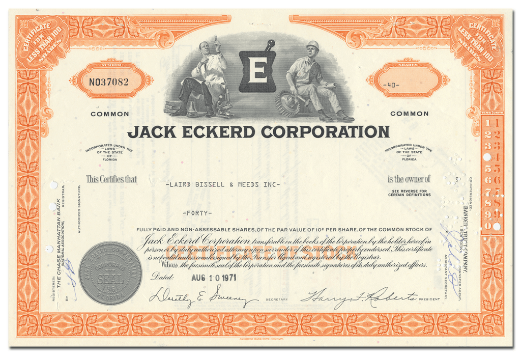 Jack Eckerd Corporation Stock Certificate