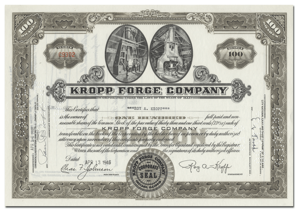 Kropp Forge Company Stock Certificate