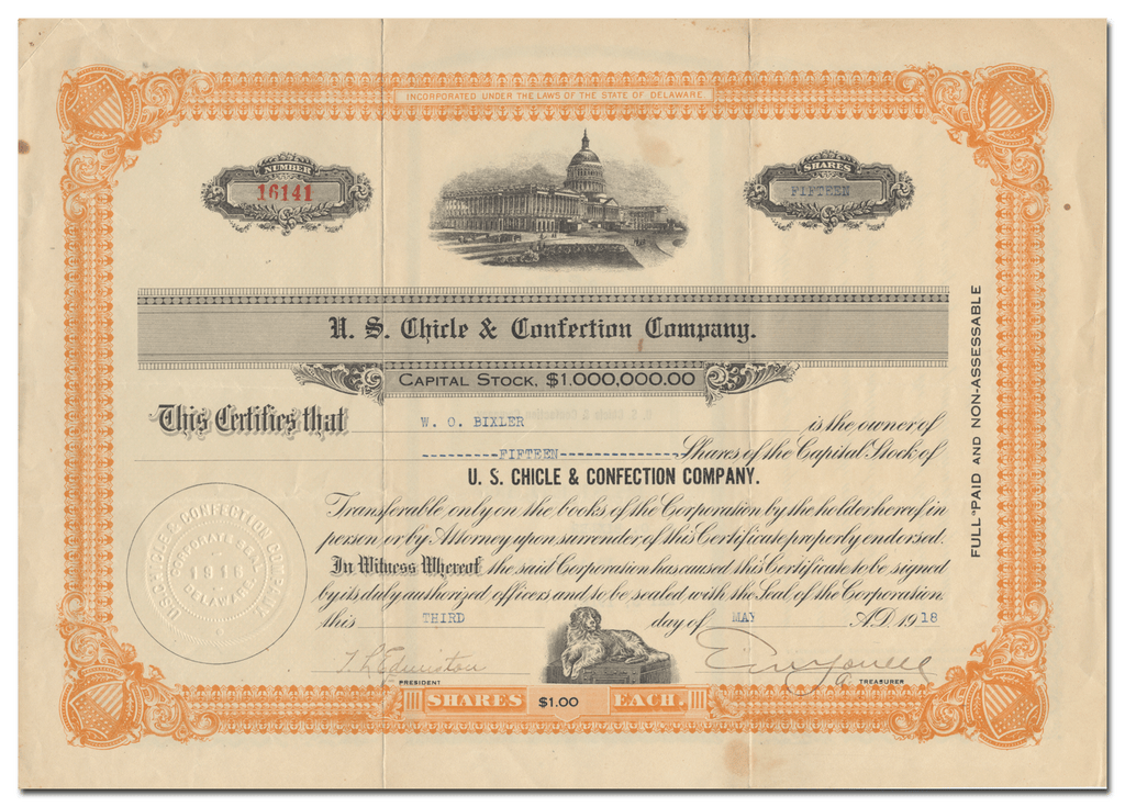 U. S. Chicle & Confection Company Stock Certificate