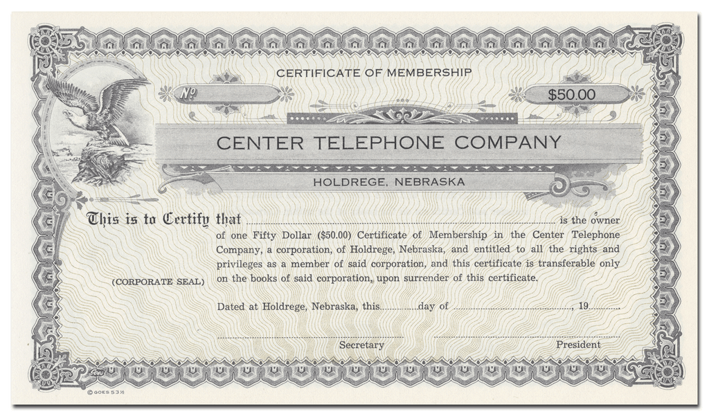 Center Telephone Company Membership Certificate