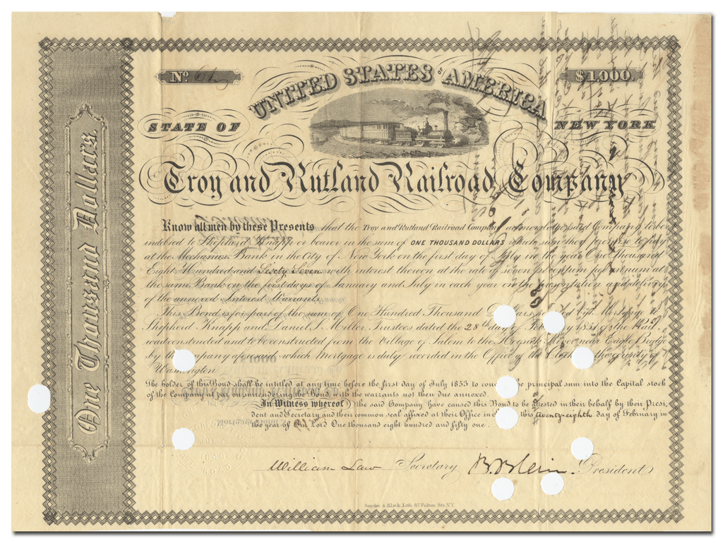 Troy and Rutland Railroad Company Bond Certificate