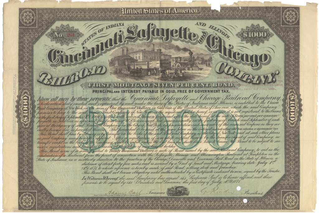Cincinnati, Lafayette and Chicago Railroad Company Bond Certificate Signed by Adams Earl