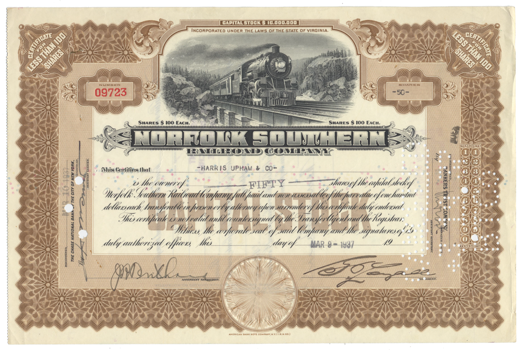 Norfolk Southern Railroad Company Stock Certificate