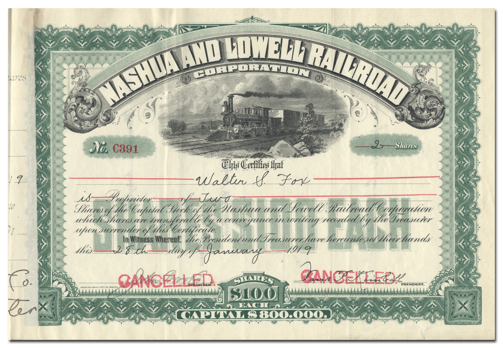 Nashua and Lowell Railroad Corporation Stock Certificate