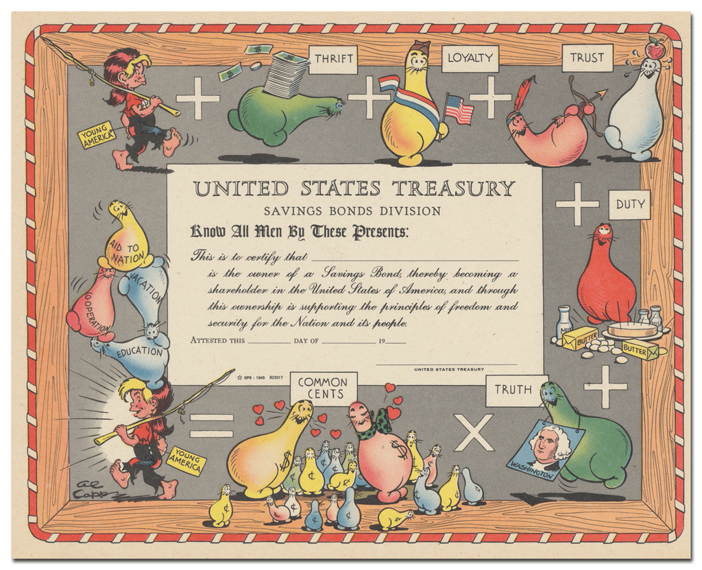 United States Treasury Department Savings Bond Certificate