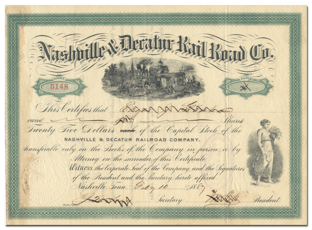 Nashville & Decatur Rail Road Company Stock Certificate