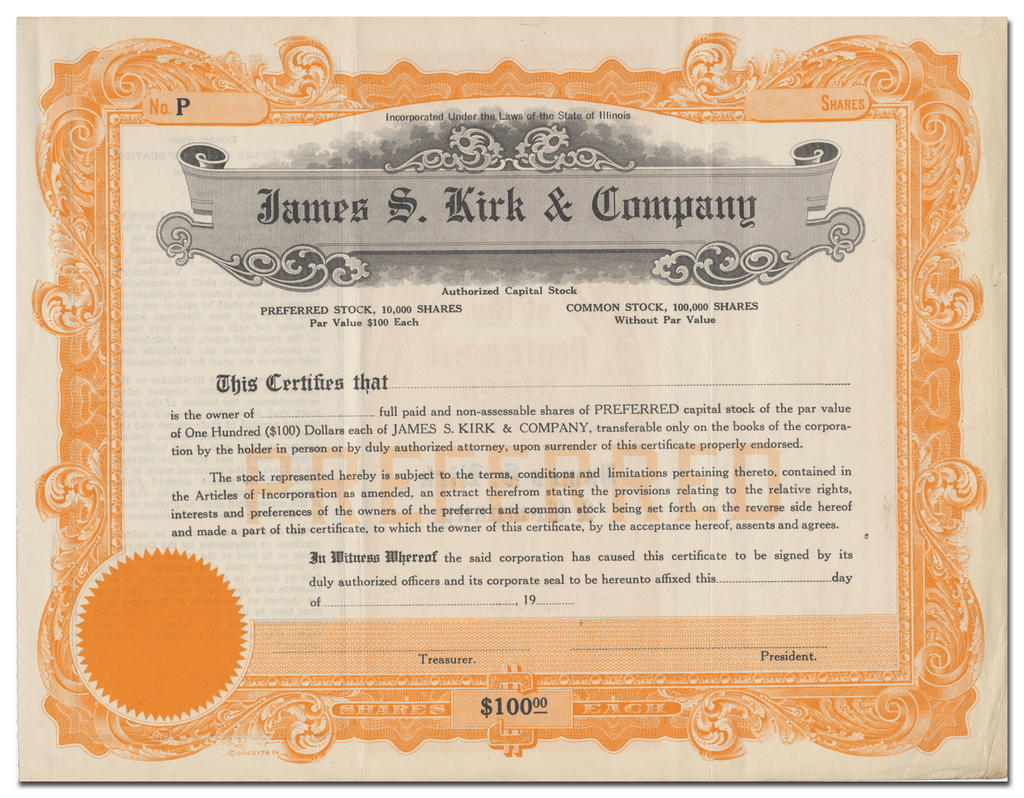 James S. Kirk & Company Stock Certificate