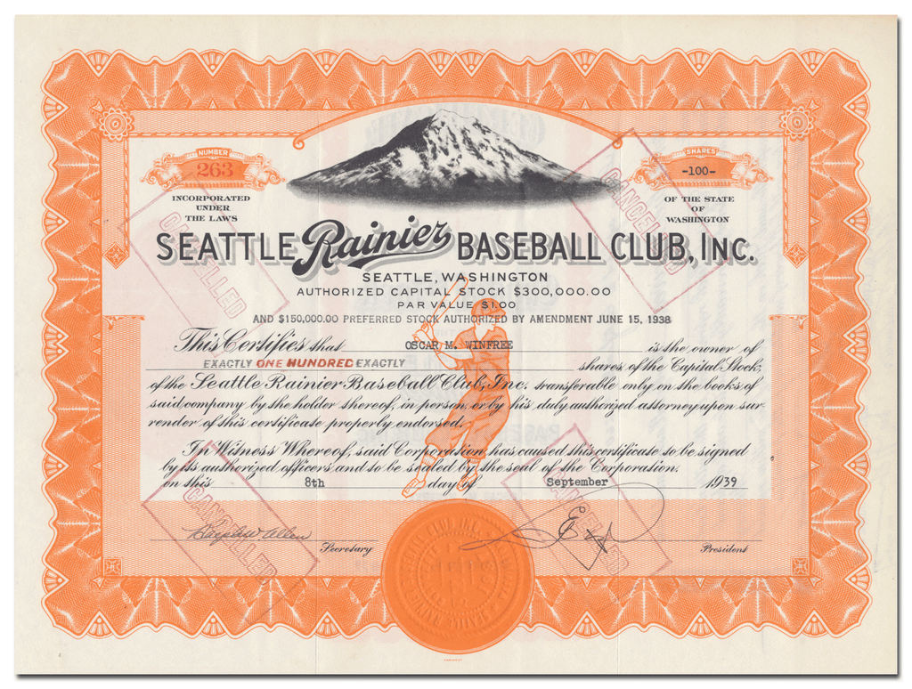 Seattle Rainier Baseball Club, Inc. Stock Certificate