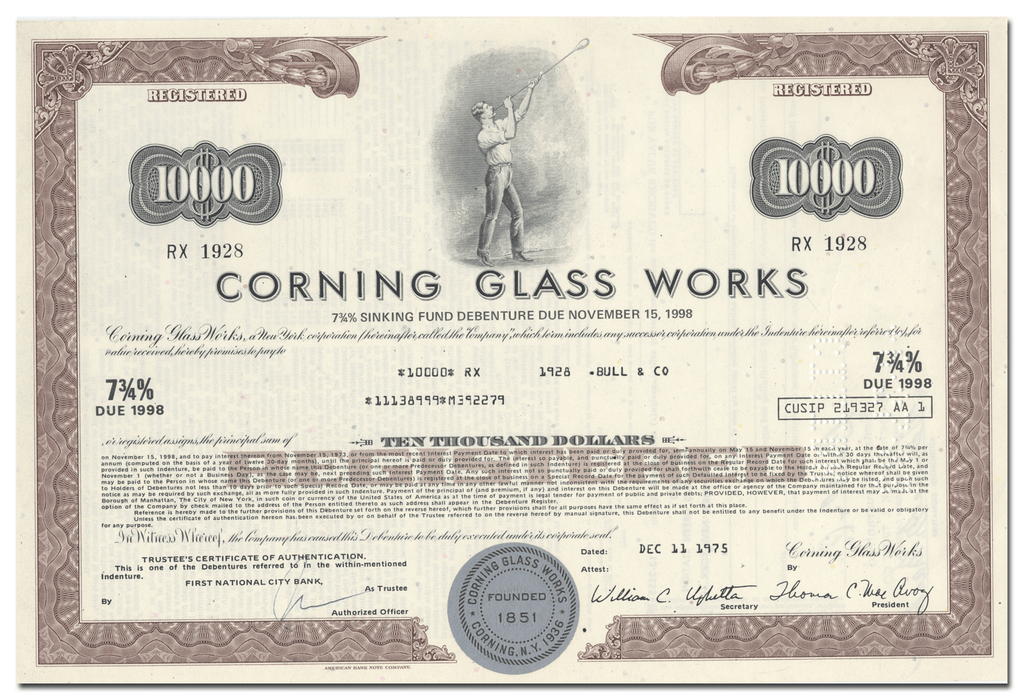 Corning Glass Works Bond Certificate