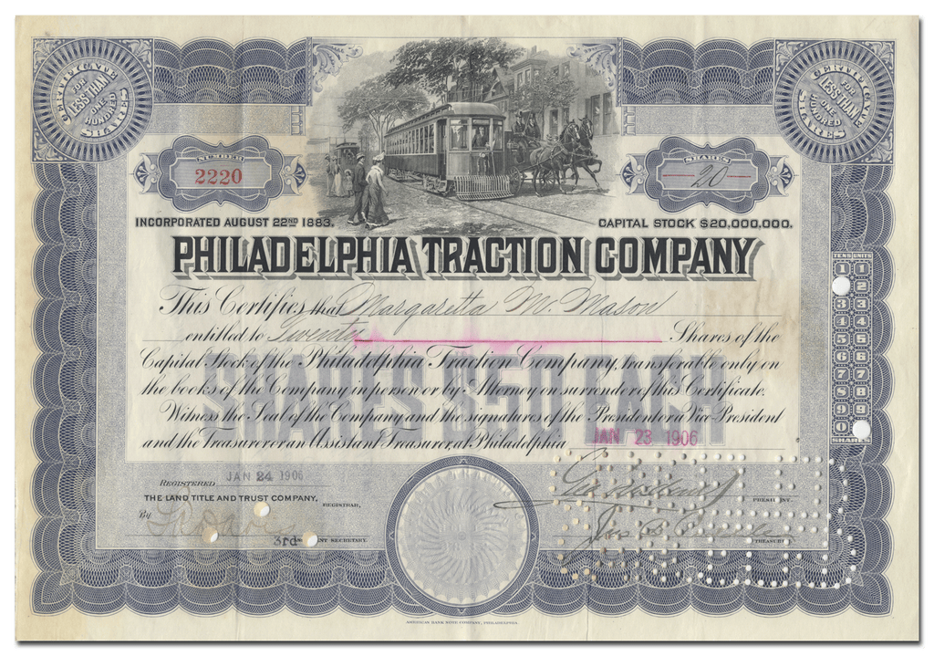 Philadelphia Traction Company Stock Certificate Signed by George Widener