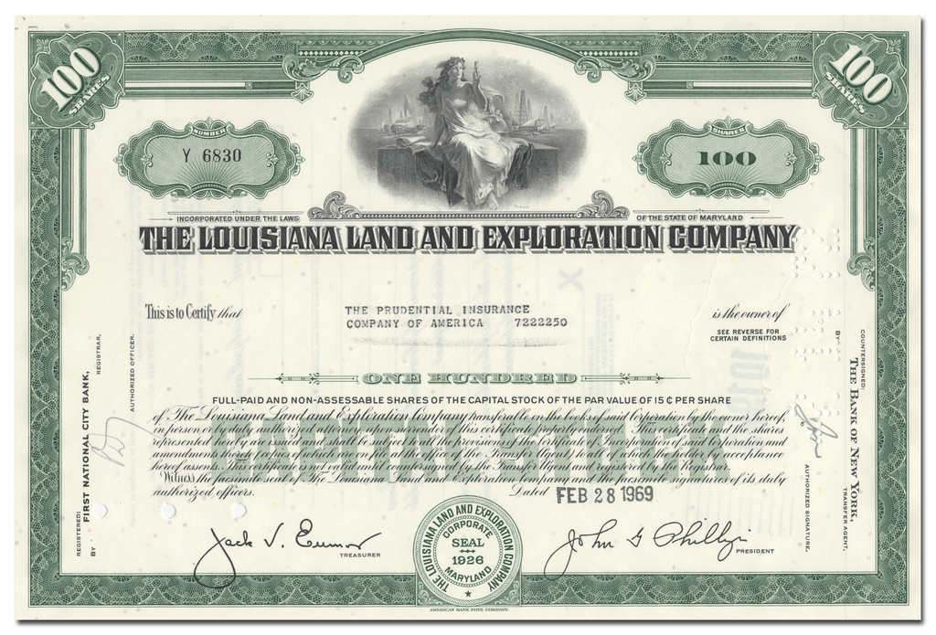 Louisiana Land and Exploration Company Stock Certificate