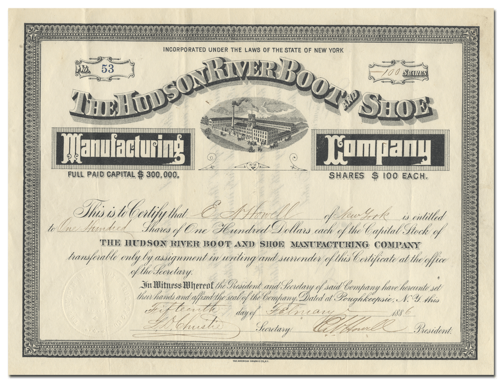 Hudson River Boot and Shoe Manufacturing Company Stock Certificate