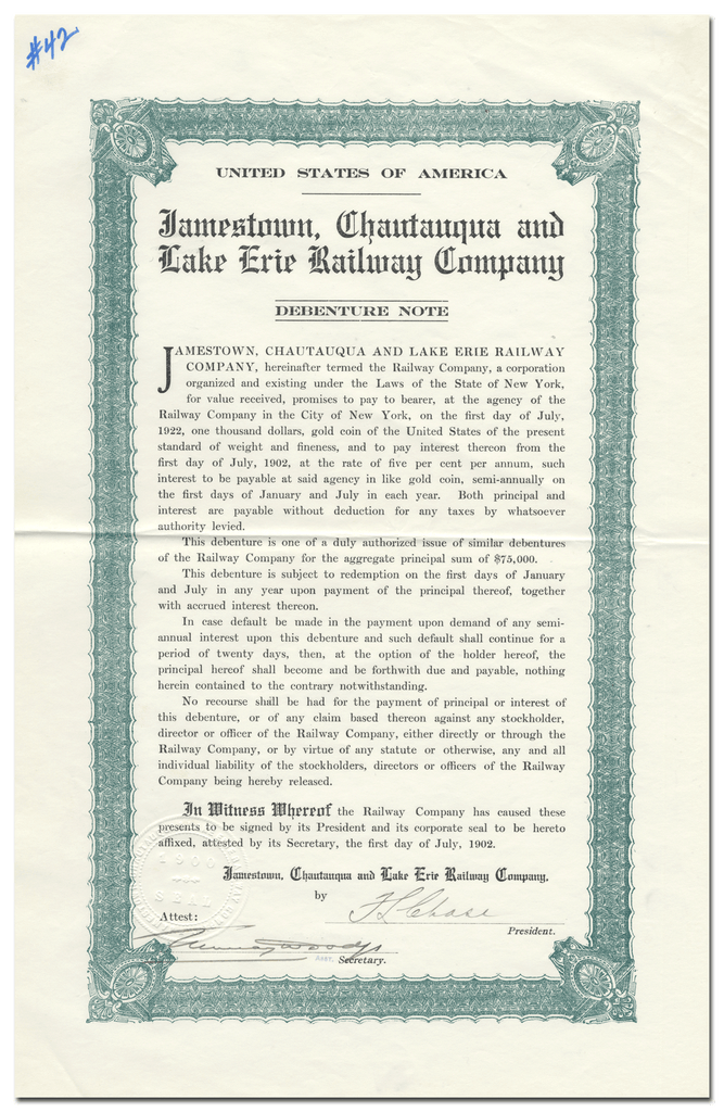 Jamestown, Chautauqua and Lake Erie Railway Company Bond Certificate