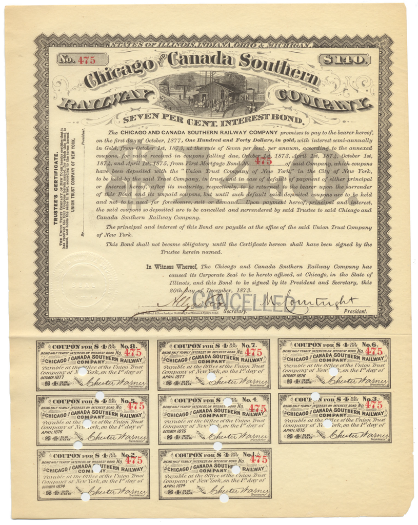 Chicago and Canada Southern Railway Company Bond Certificate