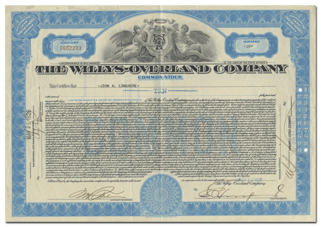Willys-Overland Company Stock Certificate