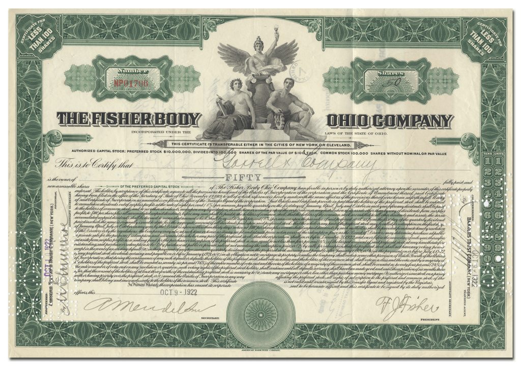 Fisher Body Ohio Company Stock Certificate Signed by Frederick J. Fisher