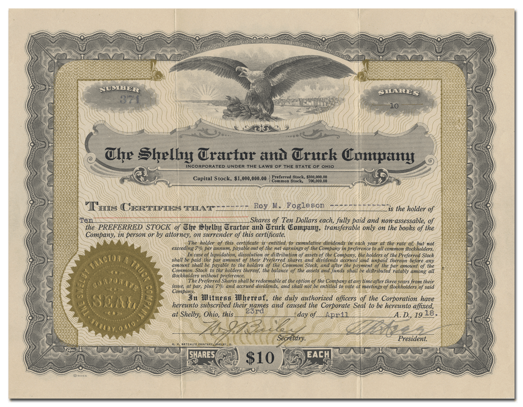 Shelby Tractor and Truck Company Stock Certificate